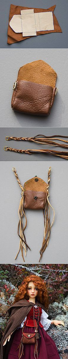 Diy Bag Leather Projects Ideas This image has get … – Bags Leather Accessories, Doll Accessories, Leather Jewelry, Leather Craft, Handmade Leather, Vintage Leather, Diy Sac, Medicine Bag, Leather Pattern