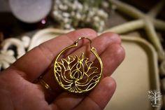 Röötz - Lotus Flower hoop earrings Lotus earrings ,tribal earrings,brass jewelry, Tribal Jewellery, Ethnic Jewelry ,ethnic earrings