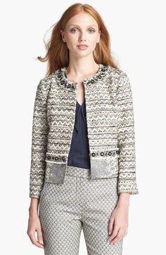 vanessa beaded crop jacket / tory burch
