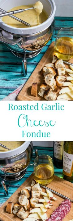 Roasted Garlic Cheese Fondue #SundaySupper #GalloFamily | girlinthelittleredkitchen.com