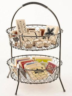 Make a Tiered Wire Basket Work for Stamp Storage Found at a kitchen-supply store, this tiered wire basket was originally meant to hold fruit. But repurposed as a spot for stamp storage, it not only becomes a handy desktop catchall, but it also is ideal for air-drying just-cleaned stamps. Toss ink pads in the bottom basket to keep colors visible and nearby. Approximate cost: $10