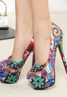 Fabulous Floral Printed Stiletto High Heels Shoes