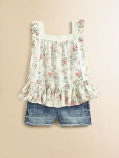 Ralph Lauren Little Girls Floral Top with Jean Shorts