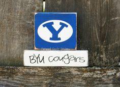 Mini BYU Cougars Wood Stacker...Get ready for football season and Ready to Ship. $12.00, via Etsy.