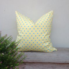 Retro pillow cover Light yellow pillow cover Dot  by iaimshop, $25.00