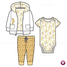 Infant Hoodie, Onesie and Pants Fashion Flat Template  $2.49  #illySTUFF