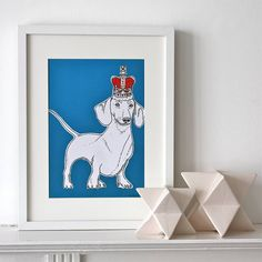 sausage dog in a crown print by adam regester art and illustration | notonthehighstreet.com