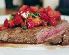Steak with Strawberry-Balsamic Salsa Recipe #dinner #steak