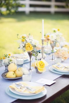 Blue And Yellow Wedding Centerpieces Southern By Design Southern Meets Minnesota Southern Weddings Wallpaper Beautiful Table Settings, Wedding Table Settings, Wedding Tables, Blue Yellow Weddings, Wedding Blue, Dream Wedding, Summer Wedding, Wedding Colors, Yellow Wedding Flowers