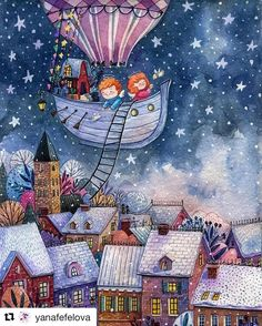Beautiful illustration of kids flying in a hot air balloon boat over a snowy city Art And Illustration, Watercolor Illustration, Watercolor Art, Christmas Pictures To Draw, Christmas Drawing, A Christmas Story, Christmas Art, The Pirates, Naive Art