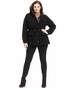 a1881063e9775 Calvin Klein Plus Size Drawstring-Waist Pea Coat Plus Sizes - Coats - Macy s