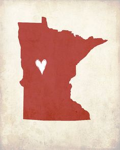 My Heart's in Minnesota8x10 Illustrated Print by sweetlyframed, $15.00