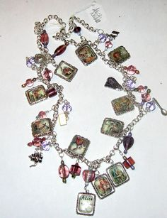 Alice in Wonderland Altered Art Charm Necklace