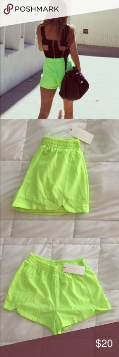 Neon Green HighWaisted Shorts SUPER cute, neon green high waisted shorts Are light weight, fully lined, elastic waist  Brand New, Tags attached Shorts