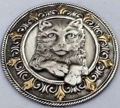 "GOLD LEAF~STERLING Overlay On Stamped Brass~""CUTE KITTEN"" Button~ 1 3/4"" Inch"