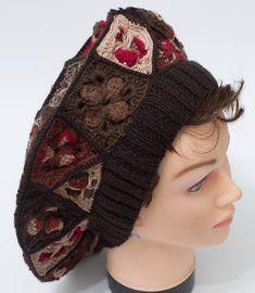 Beret boho, boho hat, large beret, granny square beret, woman hat, vintage style, crochet beret