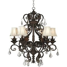 """Kathy Ireland Ramas de Luces Bronze 30"""" Wide Chandelier (1.320 BRL) ❤ liked on Polyvore featuring home, lighting, ceiling lights, lamps, brown, chandeliers, kathy ireland chandelier, column lamps, bell shaped lampshade and bell shaped lamp shade"""