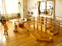 Montessori Playroom Inspiration Photo From A Japanese Daycare Rooms, Home Daycare, Preschool At Home, Montessori Playroom, Montessori Toddler, Infant Toddler Classroom, Reggio Classroom, Nursery School, Learning Spaces