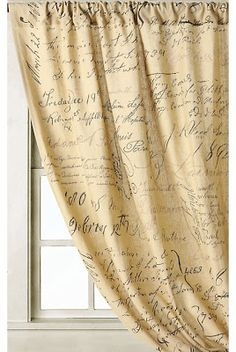 "Anthropologie Adorations 50"" x 84"" French Script Calligraphy Curtains"