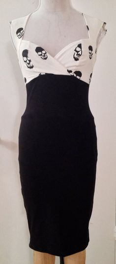 Pinup Ivory Black Skull Sweet Heart Wiggle Dress...