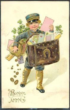 Vintage Mail Boy Postcard ~ Jaanas Gott o Blandat Christmas Blessings, Christmas Greetings, Vintage Christmas Cards, Christmas Images, Irish Christmas, Merry Christmas, Going Postal, Vintage Children, St Patricks Day