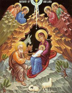 nativity of christ orthodox icon - Religious Images, Religious Icons, Religious Art, Byzantine Icons, Byzantine Art, Biblical Art, Jesus Pictures, Madonna And Child, Catholic Art