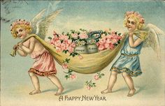 New Year Angels Carry Money & Roses Horseshoe Embossed c1910 Postcard