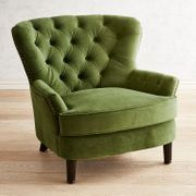 Eliza Forest Velvet Armchair The charming Eliza offers timeless good looks with a classic silhouette draped in hand-upholstered ink velvet with hand-applied nailhead trim. A reversible, coil-spring seat cushion keeps things Velvet Furniture, New Furniture, Furniture Chairs, Furniture Market, Furniture Dolly, Furniture Stores, Wicker Chairs, Upholstered Chairs, Green Chairs