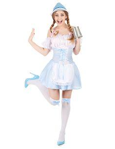 Dirndl Damenkostüm: Dieses traditionelle Dirndl Damenkostüm besteht aus einem Kleid(Hut,Schuhe und Strümphose nicht inbegriffen). Das weiss-blau-karierte Kleid mit kurzen, Puffärmeln mit...
