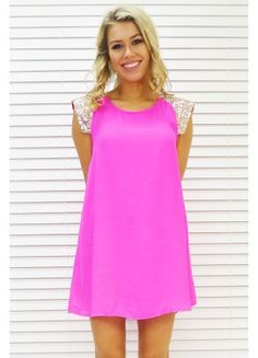 Dress Sparkle Shoulder in Neon Pink $59.99