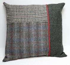 Looking for some cushion ideas - Harris tweed cushion with red piping… Applique Cushions, Patchwork Cushion, Sewing Pillows, Wool Pillows, Quilted Pillow, Wool Applique, Cushion Fabric, Throw Pillows, Cushion Inspiration