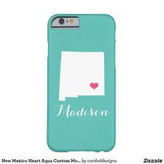 New Mexico Heart Aqua Custom Monogram Barely There iPhone 6 Case