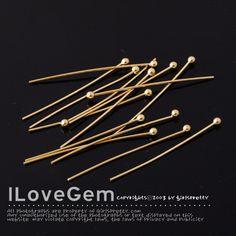 NP-1082 Gold plated Ball Headpins 2.0mm Ball 23GaX30mm por ilovegem
