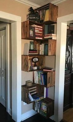 37 Corner Storage Options (Every Room Co. - 37 Corner Storage Options (Every Room Covered) - Crate Bookshelf, Wood Crate Shelves, Bookshelf Ideas, Hanging Bookshelves, Floor To Ceiling Bookshelves, Corner Bookshelves, Shelving Ideas, Wood Crate Diy, Bookshelves For Small Spaces