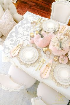 blush - gold - velvet - pumpkin fall table