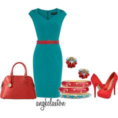 Turquoise with Red, created by angkclaxton on Polyvore