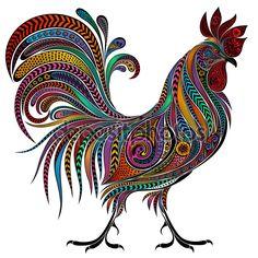 Vector de color de gallo de los patrones para el año nuevo 2017