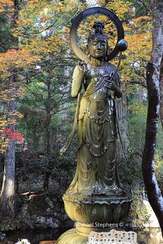 Water annointed Buddhist statue near Gokusho Offering Hall, Okunoin, Koya-san, Honshu, Japan