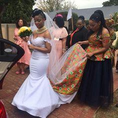 Shweshwe Wedding Traditional Dresses For 2019 ShweShwe 1 African Print Wedding Dress, African Bridesmaid Dresses, African Wedding Attire, Blue Wedding Dresses, African Attire, African Dress, Wedding Gowns, Zulu Wedding, Ghana Wedding