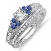 Wonderful 1 Carat Princess Diamond Wedding Ring Set in 14k White Gold $1,064.99
