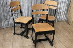 VINTAGE INDUSTRIAL RETRO STYLE KITCHEN DINING CHAIRS THE ETON WITH BLACK FRAMES
