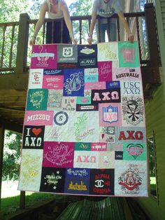 Sorority t shirt quilt... totally going to do this for myself and probably my blood big sister in axo