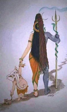 Ardhanarishvara and Ganesha Equality in gender b Shiva Art, Shiva Shakti, Hindu Art, Krishna Art, Lord Ganesha Paintings, Lord Shiva Painting, Ganesha Drawing, Ganesha Art, Shiva Sketch