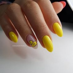 29 Trendy Ideas For Gel Manicure Acrylic Polish Duck Nails, Aycrlic Nails, Nail Manicure, Disney Acrylic Nails, Cute Acrylic Nails, Gorgeous Nails, Pretty Nails, Yellow Nail Art, Glitter French Manicure