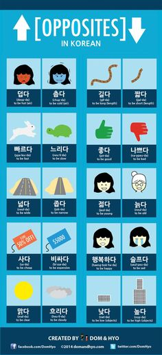 Educational infographic : Lots of vocabulary on opposites. This may be a two or three part series depending on how you guys like it. Korean opposite words are pretty fun although some may seem difficult to remember because Learn Basic Korean, How To Speak Korean, Korean Words Learning, Korean Language Learning, Opposite Words, The Words, Learn Hangul, Korean Phrases, Korean Slang