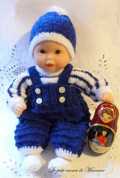 Knitwear for Poupon 30 cm - Maxence& little notebook - - Knitting Dolls Clothes, Baby Doll Clothes, Knitted Dolls, Doll Clothes Patterns, Doll Patterns, Toddler Boy Outfits, Kids Outfits, Baby Knitting, Crochet Baby