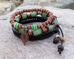 Green Buri Nut and Leather  Tribal Gypsy Stack by Angelof2 on Etsy, $28.00