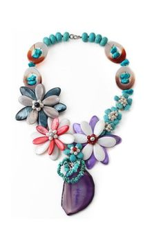 Colorful Shell Flowers Necklace with Assorted Turquoise and Crystallized Agate Pendant