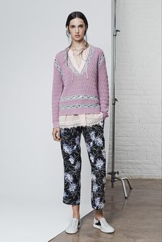 Knit sweater with crochet embellishments (the blue) -- Thakoon Addition NYFW S15 RTW