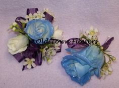 blue roses wax flower and a little sparkle!